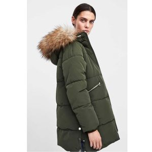 NWT Zara Quilted Parka With Hood